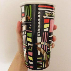 Cute Colorful Abstract Starbucks Porcelain Tumbler